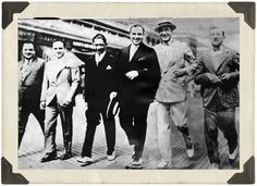 "Meyer Lansky, Al Capone, Enoch ""Nucky"" Johnson and friends walking the boards, Atlantic City. April, 1929"