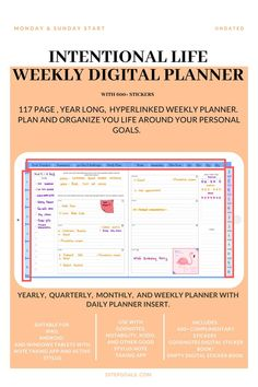 Weekly Undated Digital Life Planner for daily planning on a weekly layout. Planner Book, Goals Planner, Life Planner, Weekly Planner, Daily Planning, Planning And Organizing, Planner Organization, Weekly Goals, Organize Your Life