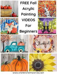 Fall canvas painting - Fall Canvas Paintings Easy Canvas Painting For Beginners Step By Step – Fall canvas painting Canvas Painting Designs, Fall Canvas Painting, Simple Canvas Paintings, Autumn Painting, Acrylic Painting Tutorials, Autumn Art, Painting Videos, Diy Painting, Halloween Painting