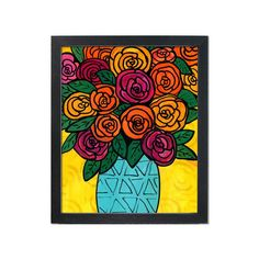 Ranunculus Print - Abstract Floral Art Print - Bright Colors - Whimsical Flower Still Life for Bedroom, Living Room, or Bathroom Mosaic Patterns, Print Patterns, Ranunculus Flowers, Stained Glass Crafts, Madhubani Painting, Floral Prints, Art Prints, Color Pencil Art, Yellow Background
