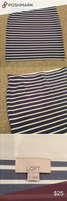 LOFT Blue and White Striped Stretch Mini Stretchy Fabric. Color is a softer blue than it appears in this pic. Photos make it appear more Navy. See last photo for a better feel for the color. LOFT Skirts Mini