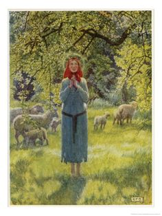"""Jeanne D'Arc Hearing Her """"Voices"""" While Minding Her Sheep at Domremy  by Eleanor Fortescue Brickdale"""