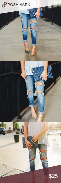 """{KanCan} Boyfriend Jeans A super soft distressed boyfriend denim. Crop length. Worn once for a photo shoot.   They have a (poorly done) raw hem when unrolled, but they arrived rolled up and that is how they are meant to be worn.   c o n t e n t + 73% Cotton 