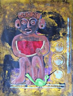 Painting of people Mayans with watermelon by MyMexicanArt on Etsy, $97.00