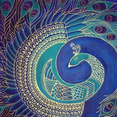 Square Peacock Painting by ~Cha0sCat