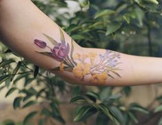 "Luiza Oliveira on Instagram: ""os caminhos em flores pra Juliana! Tulipa, jacarandá e ipê 🌱Obrigada :)"" South America, Watercolor Tattoo, Tattoo Designs, Tattoos, Instagram, Tulip, Paths, Olive Tree, Tattoo"