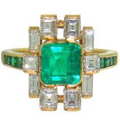 18K Yellow Gold, Emerald  Diamond 1950's Ring