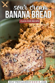 Sour Cream Banana Nut Bread is super moist with a crunchy sweet topping. Put those ripe bananas on your counter to good use and make a batch of this delicious quick bread. You can easily double or triple the recipe and then freeze the loaves! Tasty Bread Recipe, Quick Bread Recipes, Easy Bread, Muffin Recipes, Breakfast Recipes, Sour Cream Banana Bread, Banana Nut Bread, Unique Recipes, Popular Recipes
