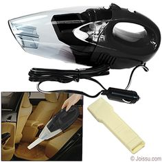 WET DRY HAND HELD CAR VACUUM CLEANERS - BLACK.   --Picks up crumbs, dust and liquid spills    --Powerful motor- 60 watts    --8 foot cord plugs into 12V DC cigarette lighter plug    --LED light to illuminate dark areas    --Includes handy nozzle attachment    --Detachable washable filter for easy cleaning    --Great for boats, RV, camping and cars    --Built-in handle for easy carrying - portable and light weight    --Each gift boxed    --Size 11.5 X 3 Inches    --Packaging 11.5 X 5 X 4…