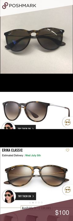 87ee1d9dc04 Ray Ban Erika Sunglasses (Polarized) Tortoiseshell lenses with gunmetal  sides