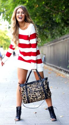 "Red and white striped ""sweater"" dress: a bit longer, but I like it!"
