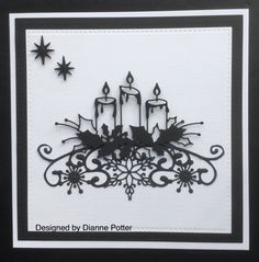 By Dianne Potter: Memory Box Glowing Candles die,Sue Wilson Snowflake border die,just used the middle part,Sue Wilson stars and Noble Squares die,CAS card in black and white.....