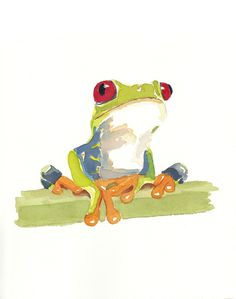 ANIMAL SKETCHBOOK TREE FROG 1 - O.R.I.G.I.N.A.L WATERCOLOR PAINTING - 8x10. $25.00, via Etsy.
