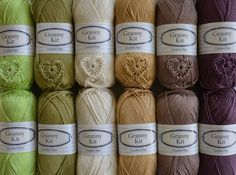 Cotton Yarns Plum Sand Gold and Greens Combination by CrochetObjet, $42.00