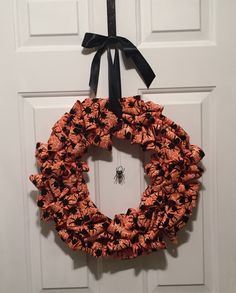 Handmade Orange and Black Halloween Wreath
