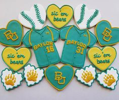 Baylor baseball cookies in honor of opening weekend. #SicEm
