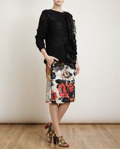DRIES VAN NOTEN | Stasya Contrasting Floral Printed Skirt | Browns fashion & designer clothes & clothing