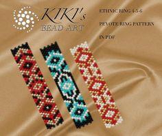 Pattern, peyote ring patterns Ethnic ring 4,5,6 - peyote ring pattern set of 3, pattern in PDF - instant download