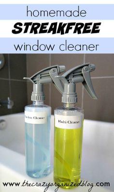 Homemade Streak free Window Cleaner with simple ingredients in your Kitchen!   thecrazyorganizedblog.com