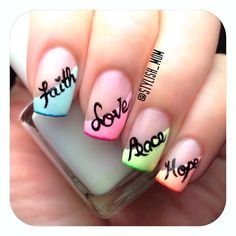 Faith, Love, Peace Hope #Neon #French #Fruit_of_the_Spirit #nails