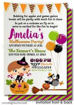 kids halloween costume party invitation printables halloween digital printable files for children halloween invitation halloween birthday - Halloween Birthday Invitations Printable