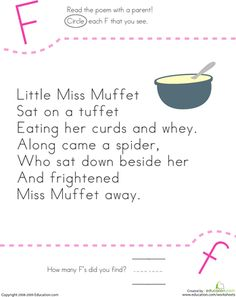 Worksheets: Find the Letter F: Little Miss Muffet