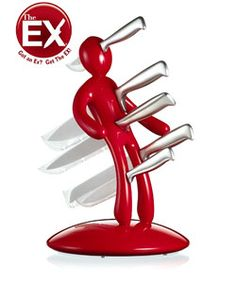 'The Ex' knife block stands 15.5 inches tallCutlery set features an anonymous effigy design that can represent anyone you pleasePlastic casings house every knife to prevent blade exposure