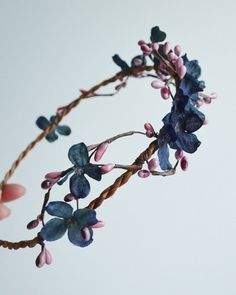 Navy and pink flower circlet, boho woodland crown, rustic head wreath, hair accessories - folklore on Etsy, Sold