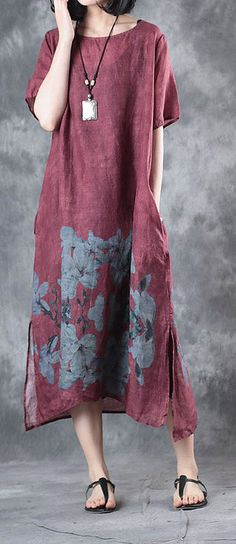 new summer burgundy prints linen dresses oversize vintage sundress o neck maxi dress