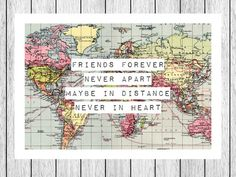 World Map Print, Friendship Quote, Map Art, Friend Gift, Long Distance, Friend Print, Leaving Gift, Travel, World Map Poster, Map Art Print on Etsy, $23.33 AUD