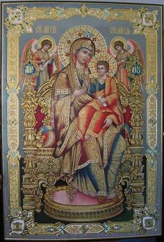 Tronende Moeder Gods Religious Images, Religious Icons, Religious Art, Romanesque Art, Christ The King, Russian Icons, Immaculate Conception, Holy Mary, Madonna And Child