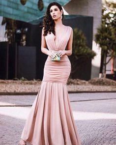 Vestido Longo Sereia Decote Profundo na Frente e nas Costas com Drapeado  (cor Nude, 8e0b0b084e