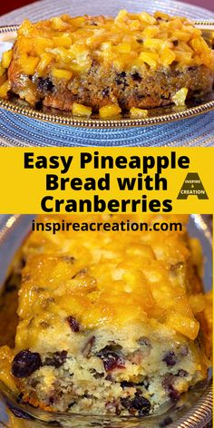 Easy Pineapple Bread with Cranberries by Inspire a Creation is a great bread to serve for a holiday or any day you want to impress. This easy recipe gets its moisture and sweetness from the rich pineapple. The cranberries are just a little extra bonus. This is like a pineapple upside down cake only in bread form. #pineapple #bread #cranberries #breakfast #brunch #easyrecipe #inspireacreation Breakfast Bread Recipes, Easy Brunch Recipes, Best Dessert Recipes, Easy Desserts, Breakfast Dessert, Sweet Recipes, Delicious Desserts, Snack Recipes, Awesome Desserts
