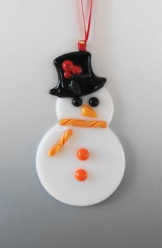 Orange Fused Glass Snowman Ornament Holiday Ornament by GlassCat