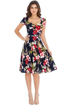 Laura Floral 50s Style Full Skirt Dress in Red & Navy | Clarence and Alabama