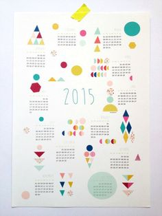 Printable single-page 2015 geometric calendar from the Mademoiselle Eyo shop on @etsy