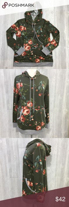 "Floral Hoodie Floral Hoodie, Olive w/ Grey Accents, Super Soft, Rayon/Spandex Blend, Armpit to Armpit Measures 20"" Across Laying Flat, Length 31"" rev 320 Tops Sweatshirts & Hoodies"