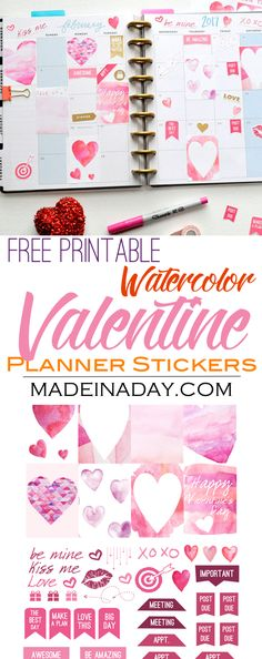 February Watercolor Valentine FREE Printable Planner Stickers, watercolor, pink, red, kiss me, printable valentine, Happy Planner stickers,  via @madeinaday