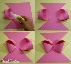 Foam Crafts, Craft Stick Crafts, Diy Crafts For Kids, Kids Diy, Diy Hair Bows, Diy Bow, Paper Purse, Bow Template, Hair Bow Tutorial