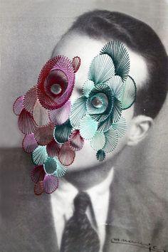 Maurizio Anzeri (b. 1969 Loano, Italy) - Giorgio, 2011 Embroidery on Print Photography Collage, Mixed Media Photography, Collages, Collage Art, Face Collage, Photomontage, Textiles, Thread Art, A Level Art
