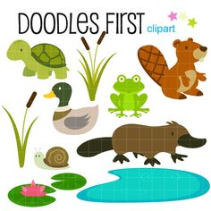 In the Pond Water Creatures Swamp Life Digital Clip Art for Scrapbooking Card Making Cupcake Toppers Paper Crafts by DoodlesFirst on Etsy https://www.etsy.com/listing/178472391/in-the-pond-water-creatures-swamp-life