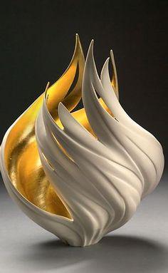 GlassArt.net | Jennifer McCurdy Pottery Art For Sale Pottery Sculpture, Pottery Art, Jennifer Mccurdy, Cement Crafts, Hearth And Home, Gourd Art, Vase, Light Art, Art For Sale