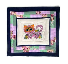 Day of the Dead Cat Pillow  Sugar Skull Kitty Wall by KarenHeenan