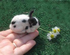 Needle Felted Animal /  Felt Miniature Rabbit by Gourmet Felted