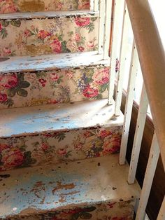 Decoupage wallpaper stairs made using vintage wallpaper and distressed with lots of time
