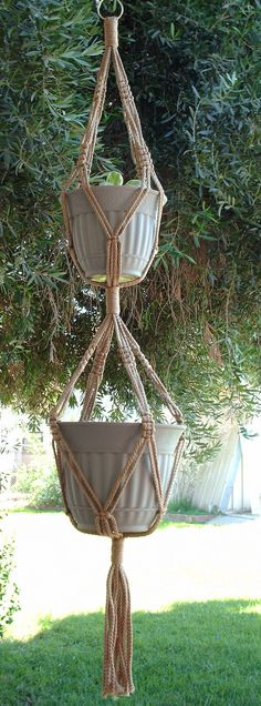 Macrame Plant Hanger 2-TIER 7mm  50in Sand.