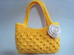 Girl's Crochet Purse PDF Pattern, Tote Bag Crochet Pattern, PDF Patterns Diy Tote Bag, Tote Purse, Crochet Handbags, Crochet Purses, Crochet Edging Patterns, Pdf Patterns, Crochet Placemats, Purse Styles, Fabric Bags