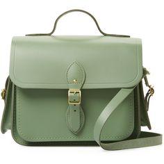 The Cambridge Satchel Company Women's Traveller Large Leather Satchel... found on Polyvore featuring bags, handbags, green, satchel handbags, travel purse, genuine leather purse, satchel purses and travel handbags