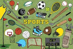 Sports Clipart  hand drawn clip art sketched art by LemonadePixel