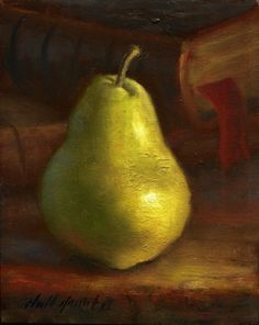 Bartlett Pear with Novel 10 8 in. Oil on canvas, painting by artist Hall Groat II